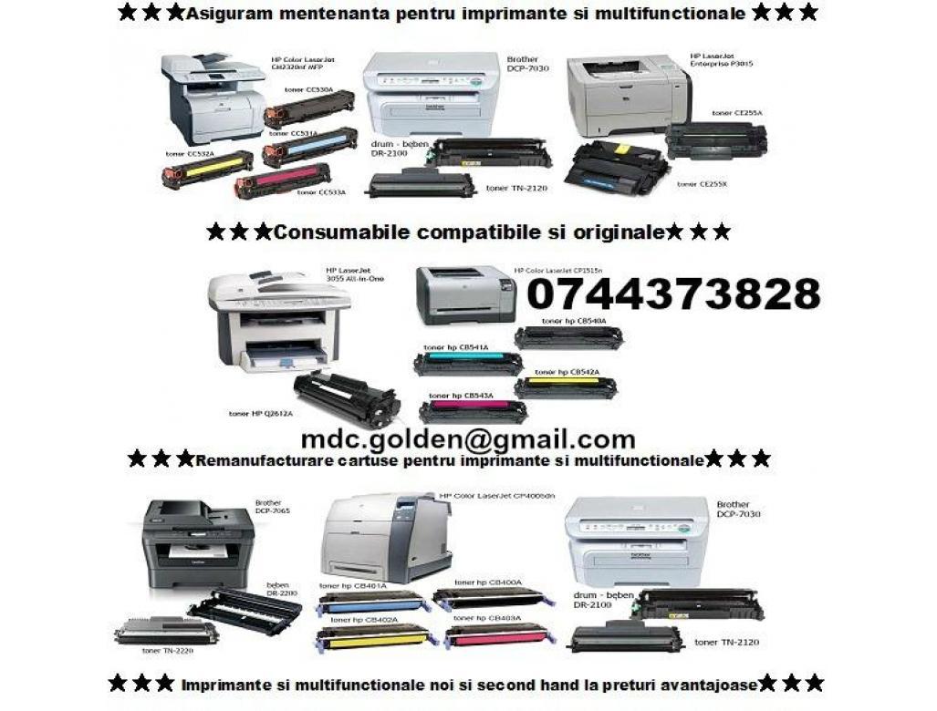 MENTENANTA cartuse ptr.imprimante 0744373828, multifunctionale, copiatoare si faxuri .